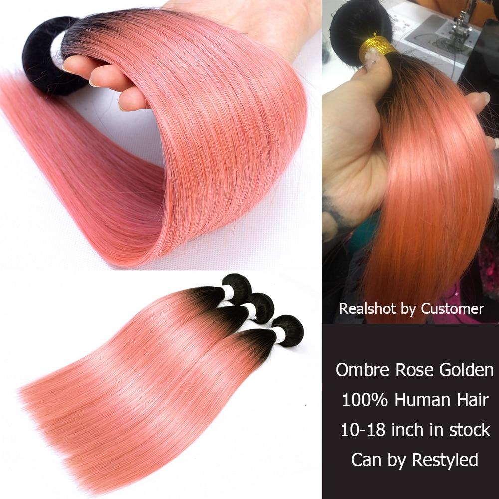 Image 3 - MOGUL HAIR Ombre 1B Grey Pink Straight Hair Weave Bundles Brazilian Hair 1 pcs Non Remy Human Hair Extension 10 18 inchHair Weaves   -