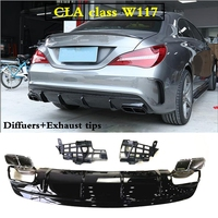 CLA45 Diffusers with 4 outlet Exhaust tips Rear tips Replacement parts for Mercedes w117 C117 X117 2013 2018