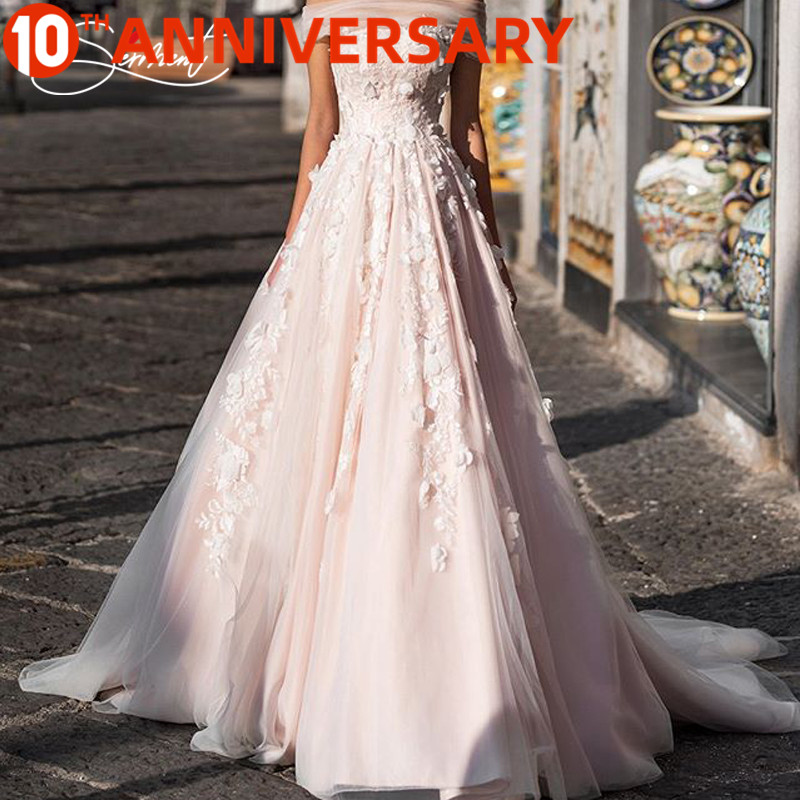 OllyMurs Gorgeous Soft Yarn Pink Wedding Dress Exclusive Private Bespoke 3D Embroidery Perfect Details Bespoke Wedding Dress