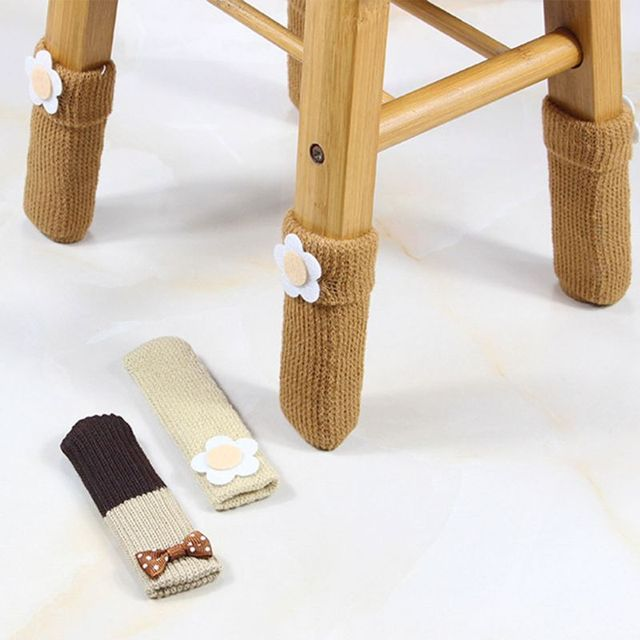 1Pc Cute Flower Applique Double Layer Knit Table Chair Foot Leg Cover Protector Cuffed Sock Sleeve Stretchy Non-Slip Wear 3