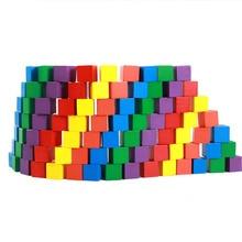 лучшая цена Montessori Colorful Wood Cube blocks Blocks Baby Recognition Intelligence Early learning Educational Toy Bricks Wooden Children