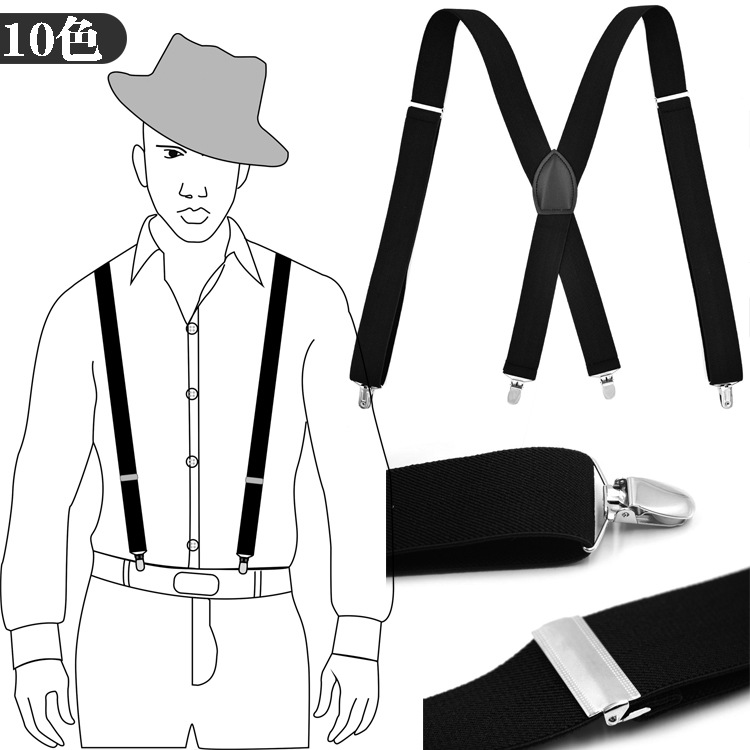 Cross Border Supply Of Goods Men 4 Clip Suspender Strap Adult Suit Pants Suspenders X-long Top Grade Gift Box Packaging Currentl