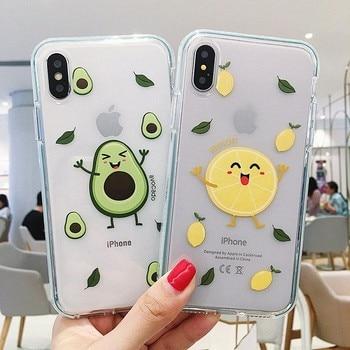 Para iPhone 6 6S 7 8 Plus X Xs 11 Pro Max XR suave claro TPU fundas lindo dibujos animados funda transparente sonrisa aguacate limón fruta