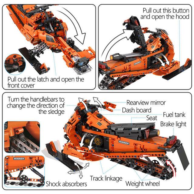 961pcs City Technic Snowmobile Model Assembly Building Blocks DIY 1:8 Snow Motorcycle Bricks Educational Toys for Children