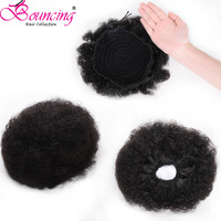 Bouncing Hair Afro puff ponytail bun extension clip in hair drawstring adjustable remy human hair for black woman