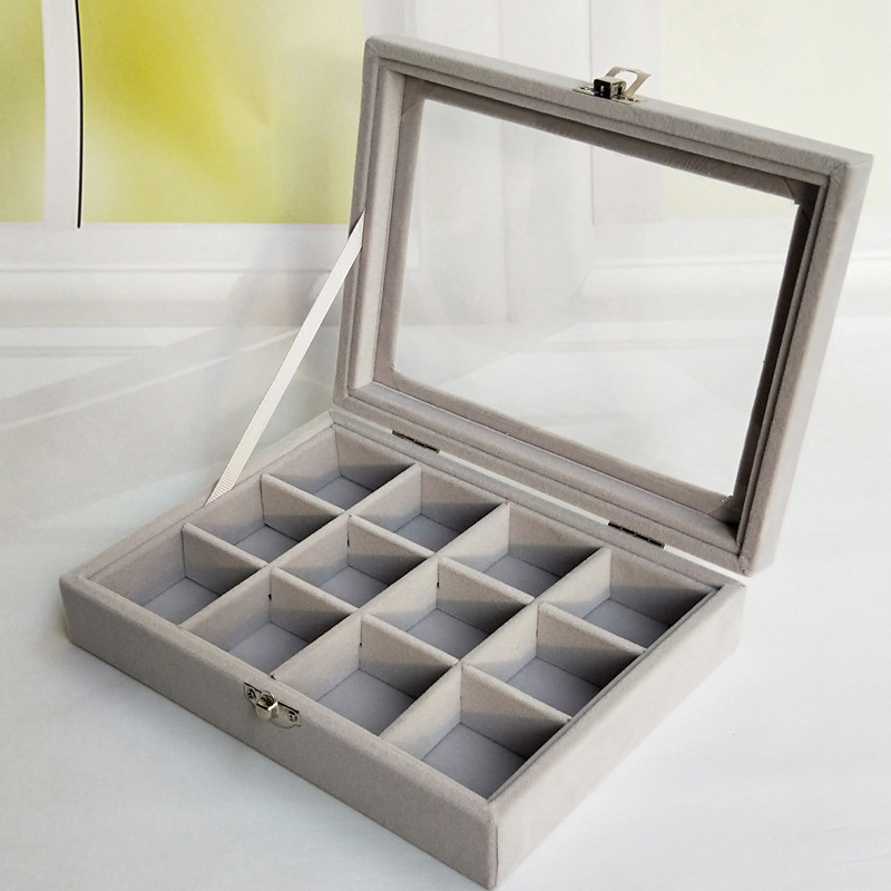 Velvet Jewelry Box Small Multi-functional Necklace Ring Storage Tray Ear Stud Accessories Show Jewelry Box Dustproof