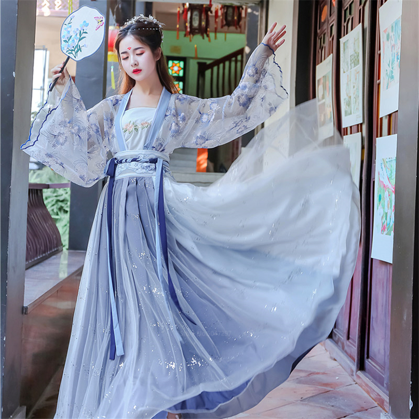 Fairy Ancient Chinese Costume Women Hanfu Dress Palace Embroidery Girl Traditional Clothing Cosplay Folk Long Robe Vintage Party