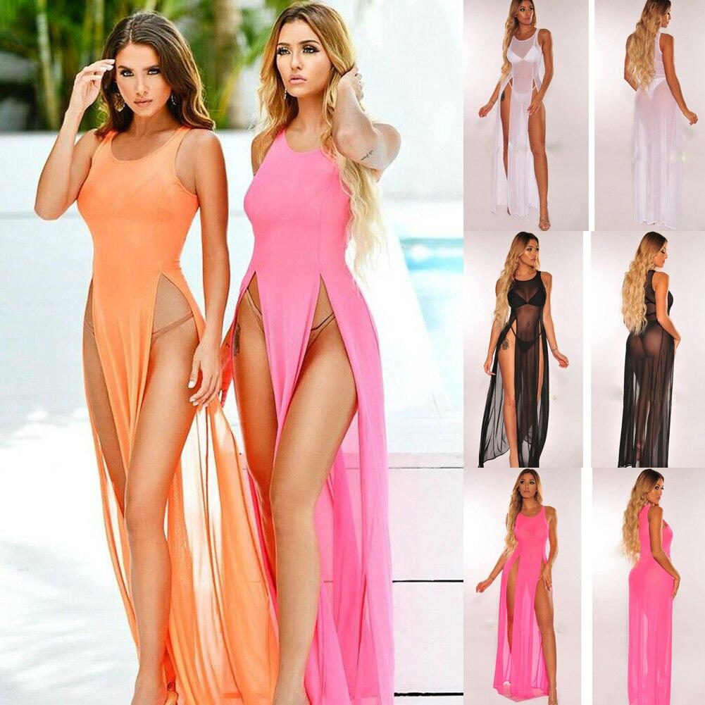 Women Sexy See Through Bikini Cover Up Swimwear Beachwear Sleeveless Bikini Beach Dress