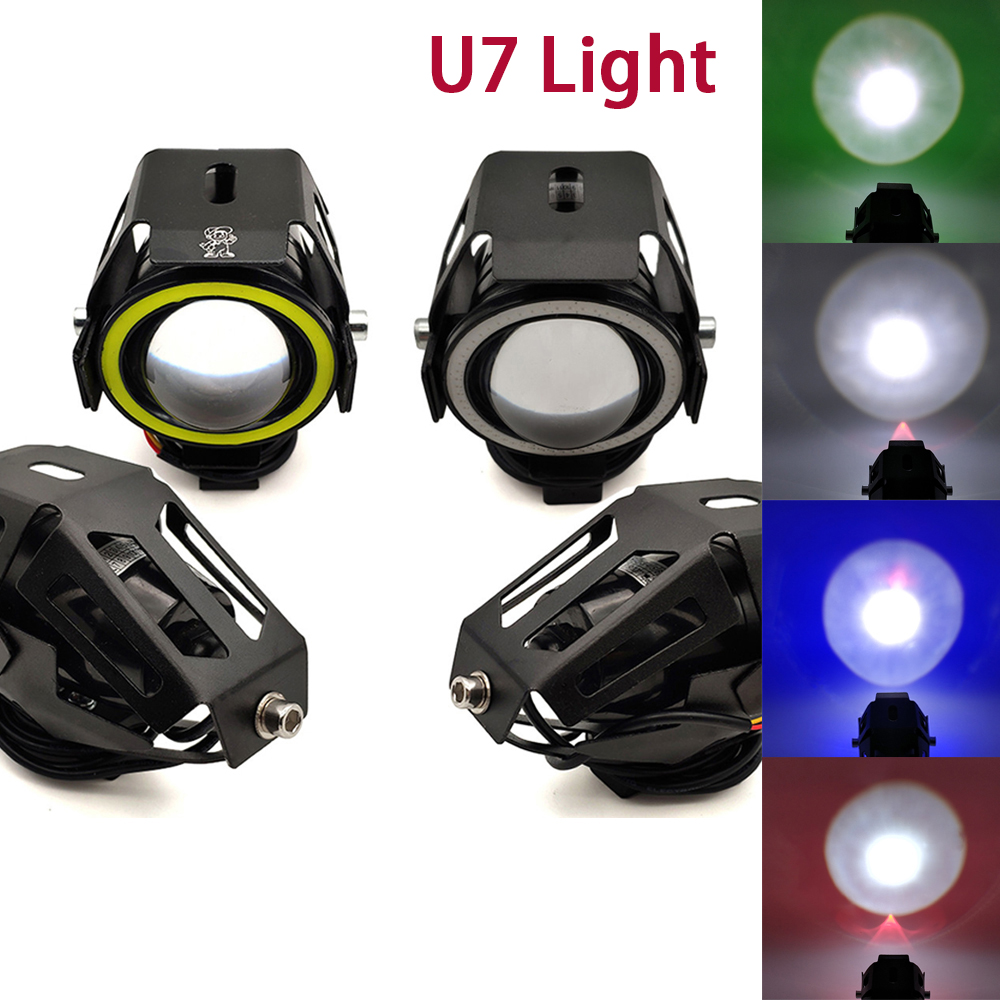 U7 <font><b>LED</b></font> Light motorcycl <font><b>Headlight</b></font> angel eyes lights motorcycle accessories For Kawasaki <font><b>Ninja</b></font> EX500 650R ER6F ER6N 250 300R <font><b>300</b></font> image