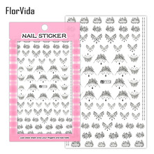 FlorVida 1 Sheet Black White Lace Nail Art Sticker Colorful Stones Flower Design Abstract Square Stickers