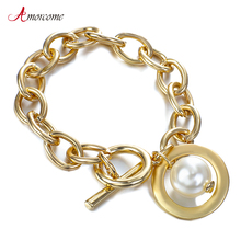Amorcome Gold Color Round Pearl Chain Bracelets for Women 2020 Fashion Hollow Out Charm Bracelets amp Bangles Female Gift Jewelry cheap Zinc Alloy TRENDY Metal Link Chain All Compatible Mood Tracker E190254P None Toggle-clasps Women Charm Bracelet Women Female Ladies