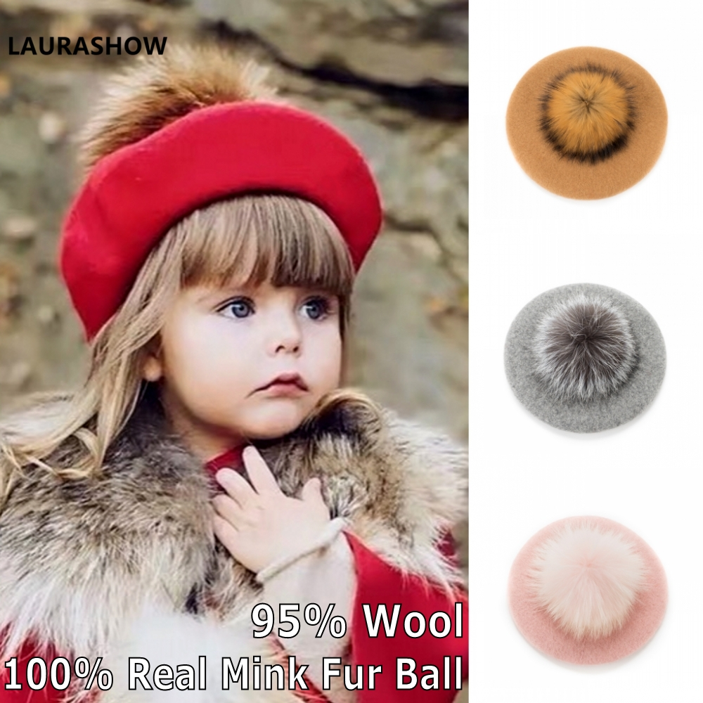 Laurashow Baby Beret Warm Wool Winter Beanie Hat With Real Fur Ball Pom Poms Girl Vintage Plain Kids Beret Hats Parent-child Cap