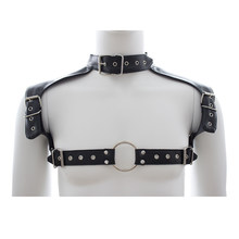 Men Sexy Leather Lingerie Body Chest Harness Adjustable Crop Top Suspenders Armor Buckles Club Party Costume(China)