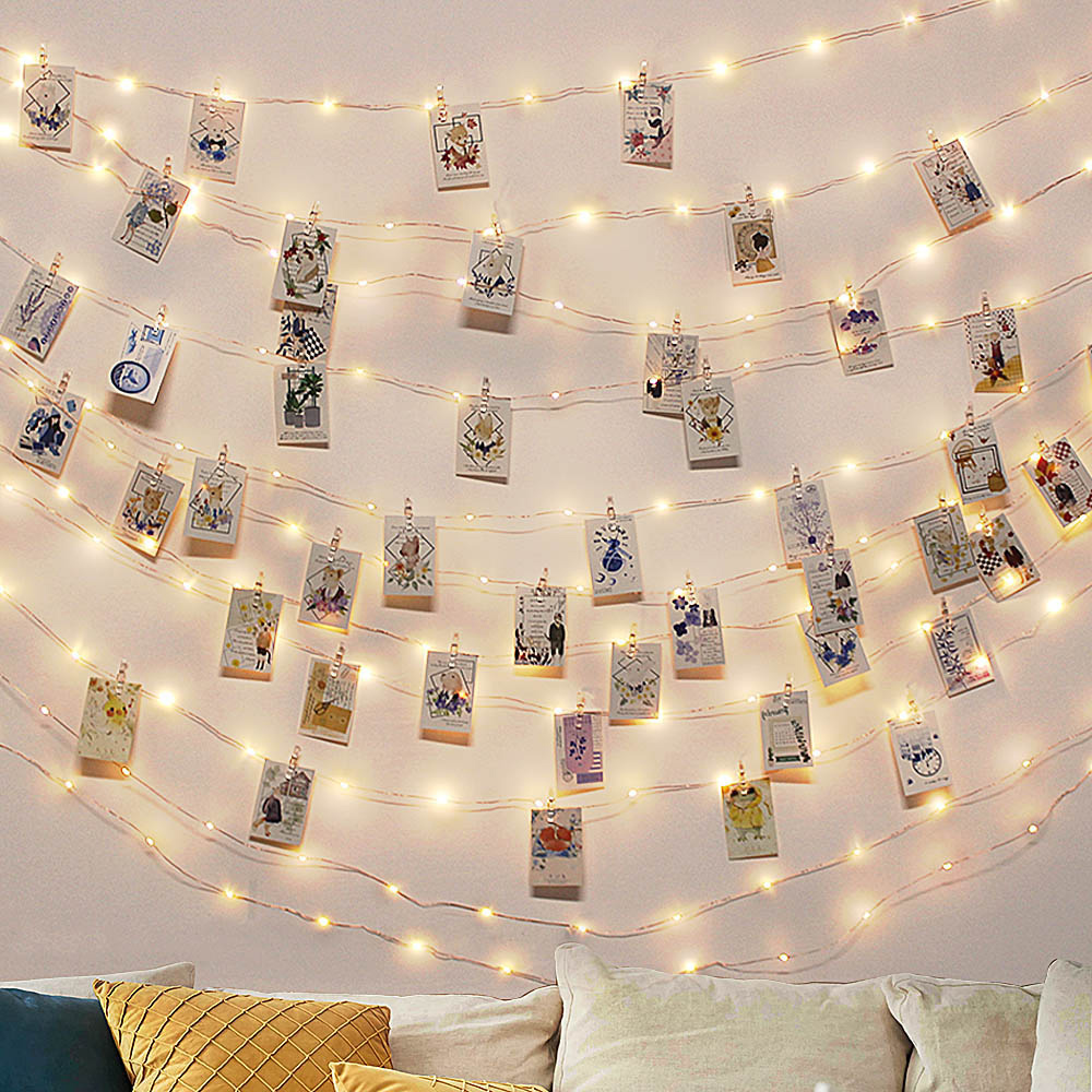 1-4Pack Photo Clip Light LED Lights with 20//40 Wooden Clips For Hanging Pictures