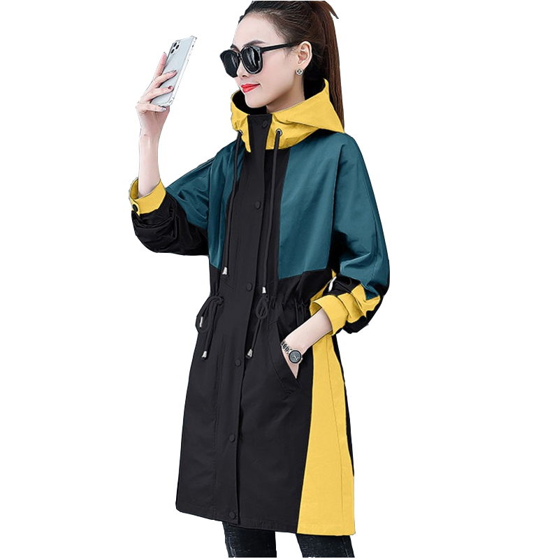 2020 Fashion Thin Trench Coat For Women Spring Autumn Hooded Outerwear Splice Long Windbreaker Student Casual Top Plus Size 3234