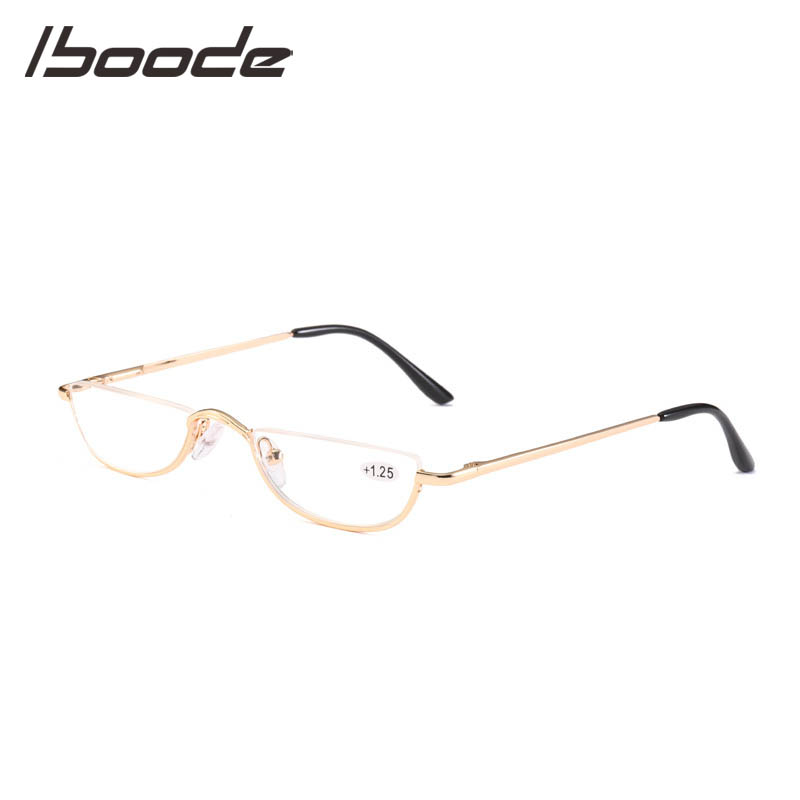 IBOODE Cat Eye Half Frameless Reading Glasses Women Men Metal Semi Rimless Presbyopic Eyeglasses Female Male Eyewear Spectacles