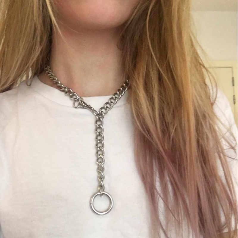 Nowe, ręcznie robione, ze stali nierdzewnej srebrny choker łańcuszek naszyjnik dla kobiet mężczyzn dziewczyny Punk Gothic metalowy kołnierz z O okrągły
