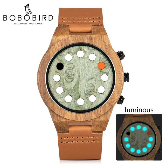 relogio masculino BOBO BIRD Wood Men Watch Unique Luminous 12 Holes Timer Design Sports Casual Watches Great Men's Gifts