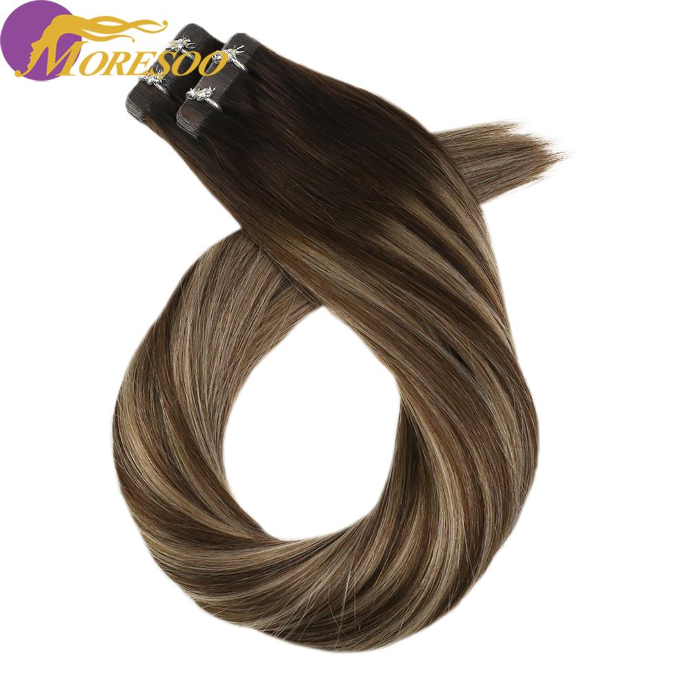 Moresoo Tape In Hair Extensions Invisible Tape Machine Remy Human Hair 12-24 Inch 30-100g Skin Weft Straight Brazilian Hair