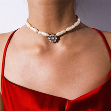 Bohemian Irregular Imitation Pearl Choker Necklace Luxury Rhinestone Crystal Pendant Necklace Party Handmade Statement Jewelry necklace for women stainless steel jewelry pearl necklace multiple layers pendant necklace choker bohemian statement necklace