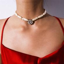 Bohemian Irregular Imitation Pearl Choker Necklace Luxury Rhinestone Crystal Pendant Necklace Party Handmade Statement Jewelry