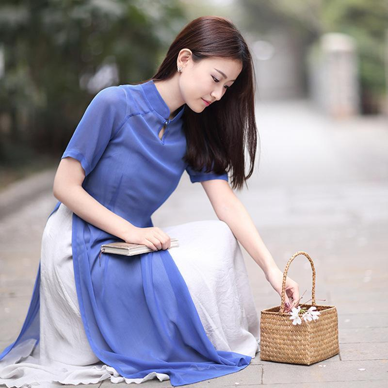 2019 Vietnam Ao Dai Improved Vietnam Cheongsam For Woman Robe+pants Pieces Suit Oriental Dress Folk Style