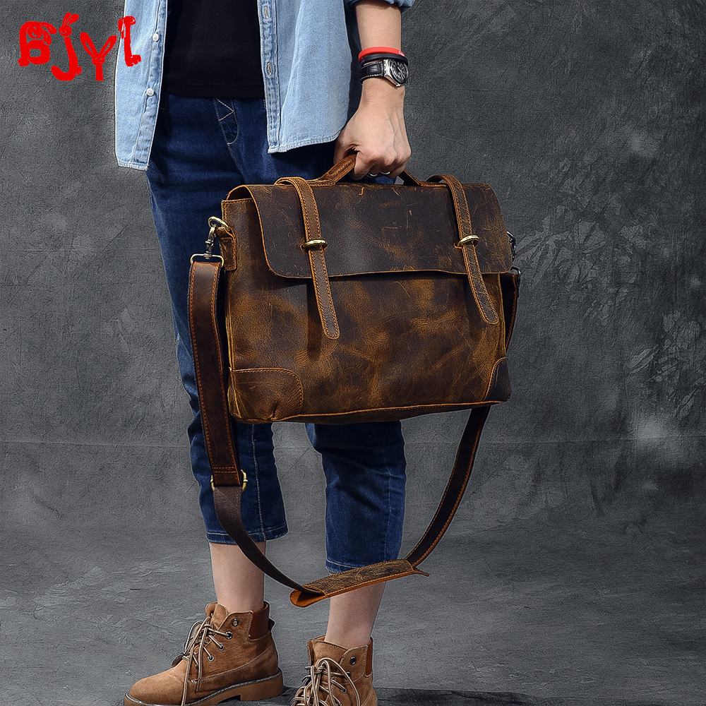Imported Leather Retro Men's Handbag Leather Male Laptop Bag Briefcase Classic Crazy Horse Leather Men Shoulder Messenger Bags