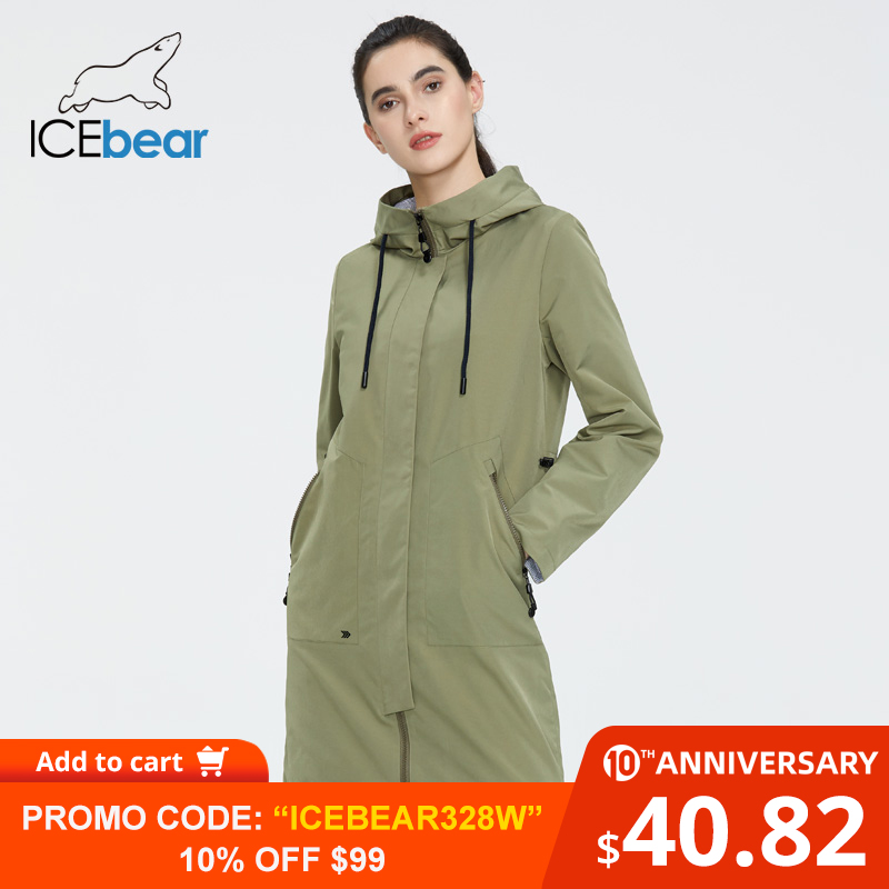 ICEbear 2020 Women Spring Windbreaker Women Long Clothes With A Hood High-quality Brand Clothing GWF20002I