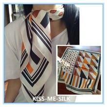 Kms высококачественный атласный шелковый шарф в полоску тутового