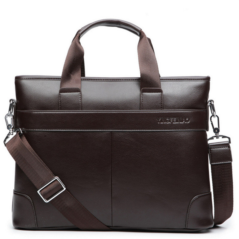 Men's Business Office Briefcase Brand PU Leather Handbag Male Computer Laptop Bag Large Solid Messenger Bag Casual Man Tote 2019