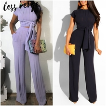 Lessverge Knitted Black Jumpsuit Tracksuit Women Sets Elegant Two Piece Suit Conjuntos Mujer Playsuit 2 Piece Set Top And PantsWomens Sets