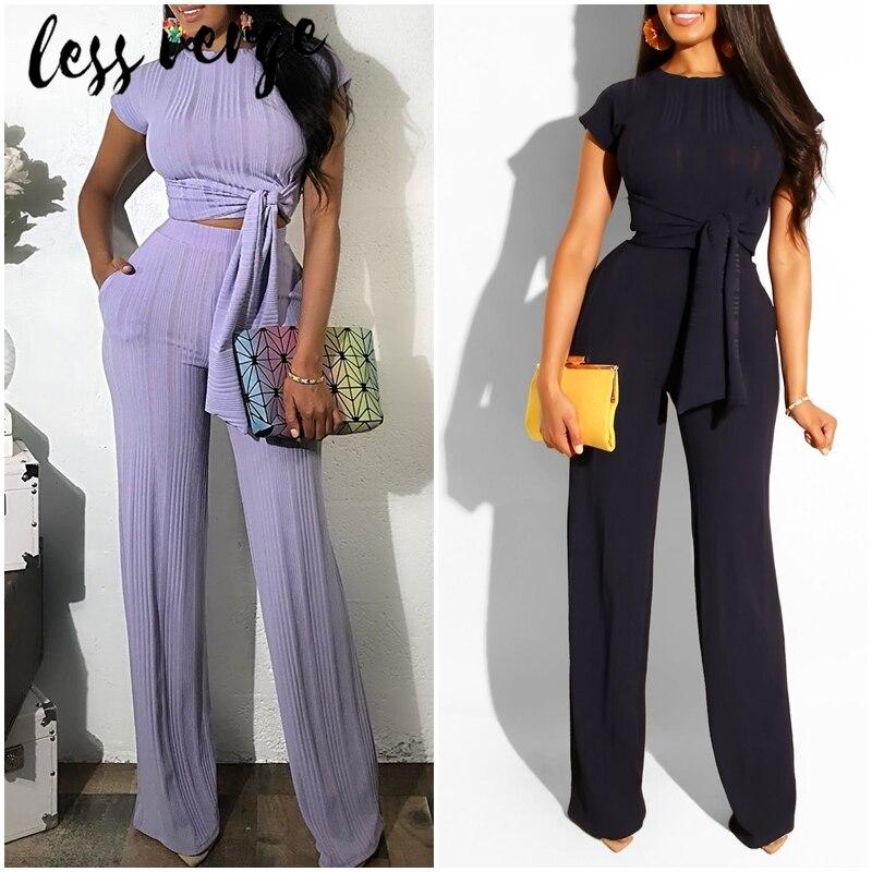 Lessverge malha preto macacão conjuntos de treino feminino elegante terno de duas peças conjunto conjunto de 2 peças conjunto de roupas e calças