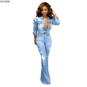 New Winter Denim Pants Women Retro Solid Hole Jeans Ripped Flare Trousers Skinny Casual High Waist Pants Sexy Bottoms HSF2118