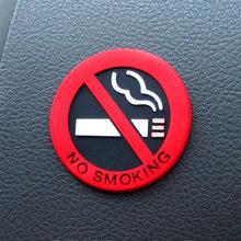 5 pçs/set Sílica Gel de Proibição de Fumar Aviso Proibido Fumar Adesivos Logotipo Não Fumar Adesivos de Carro Olho-captura De Borracha Vermelha