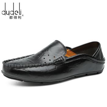 Casualowe męskie mokasyny buty letnie Hollow mokasyny skórzane trampki męskie miękkie buty wsuwane Chaussure Homme płaskie buty męskie buty 38-47 # tanie i dobre opinie dudeli CN (pochodzenie) Prawdziwej skóry Skóra bydlęca RUBBER men casual shoes Slip-on Pasuje prawda na wymiar weź swój normalny rozmiar