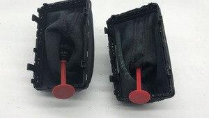 Image 5 - ハニカム穴シフトノブとブーツフィットdsg stronicシフトレバー黒と赤の線ダストカバーアウディa3 2010 +