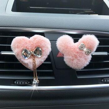 Nuevo ambientador con clip salida de aire acondicionado perfume adorno lindo modelado de coche Mickey pajarita de felpa