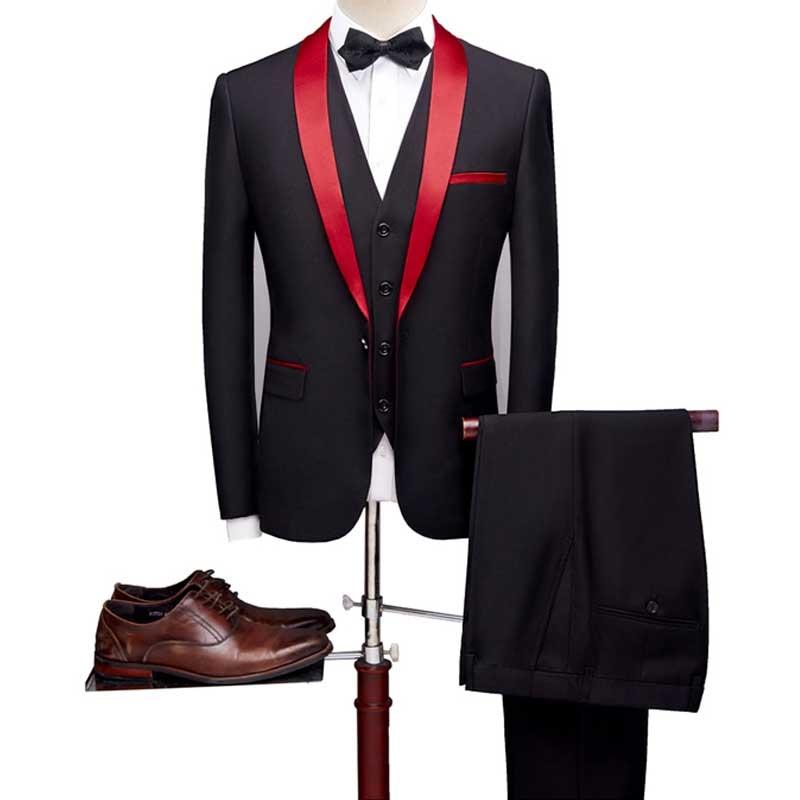 YUSHU 2019 Men Suit Shawl Lapel Wedding Groom Tuxedos Slim Fit One Button Suit Three Pieces Groomsmen Suits (Jacket+Vest+Pants)
