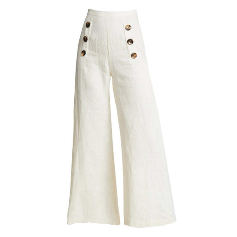 Fashion Women Summer Solid Color Loose Wide Leg Elastic High Waist Button Casual Pants