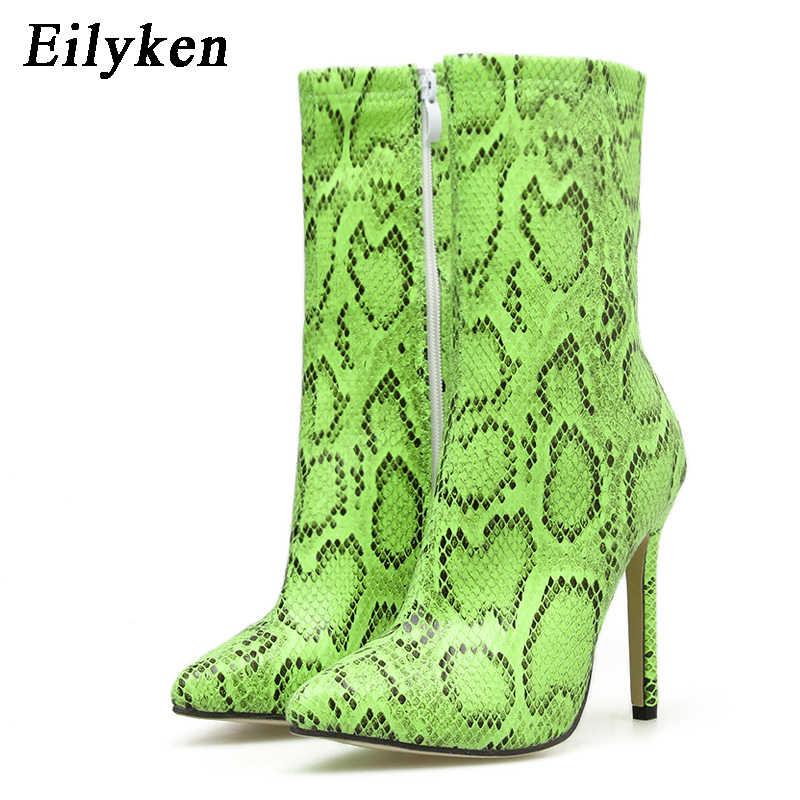 Eilyken Fluorescente Verde Del Serpente del grano Stivali di Inverno Delle Donne di Tacco A Spillo di Alta Alla Caviglia di Boot Scarpe Donna Scarpe A Punta Stivali Scarpe