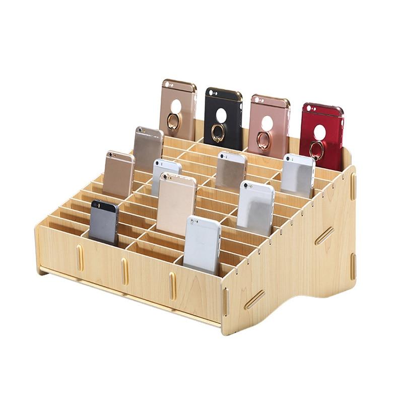 Desktop Phone Screen Storage Box School Office Wooden Phone Holder Phone Repair Management Organizer 12/24/48 Grid Storage Tool