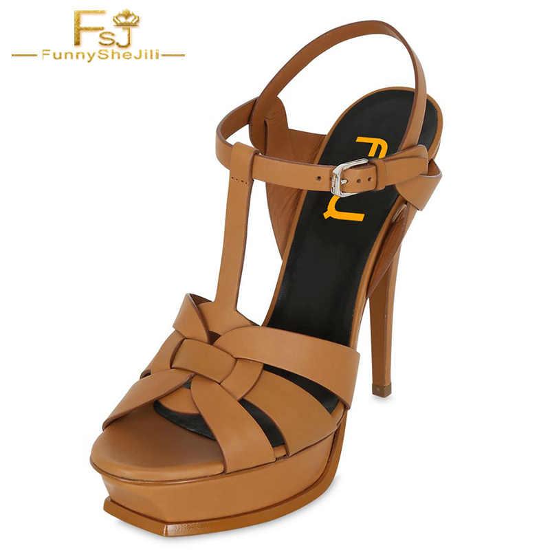 Tan Heels T Strap Platform Stiletto