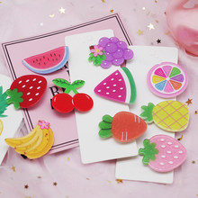 New Arrivals 2Pcs/Set Kids Hair Accessories Set Headwear Strawberry Pineapple Fruit Hairpins Cartoon Carrot Hair Clip for Girls(China)