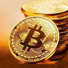BITCoin Kunst Sammlung Gold Überzogene Physikalische Bitcoins Bitcoin BTC mit Fall Geschenk Physikalische Metall Antike Nachahmung Silber Münzen