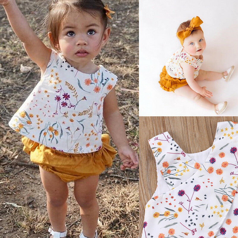 2pcs Cotton Baby Clothes Set Toddler Kid Baby Girl Summer Clothes Floral Vest T Shirt Tops Shorts Outfits Children Set 0-24M
