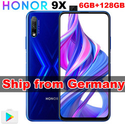 Germany In Stock Original Honor 9X 6GB 128GB Black Blue Android 9.0 Mobile Phone Octa Core 6.59 inch EU Version