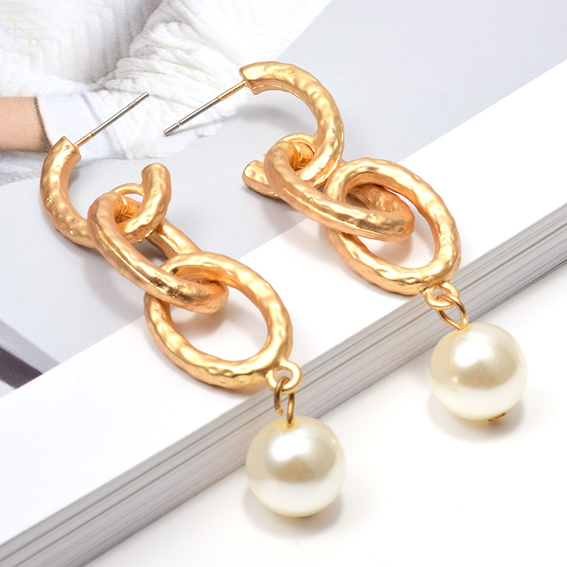 Wholesale New Hang pearl Shiny Chain Gold Metal Dangling Drop Earrings ZA Fashion Long Pendientes Jewelry Accessories For Women