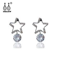 DREJEW Star Triangle Round Circle Geometric Statement Earrings Gold Silver 925 Rhinestone Drop for Women Wedding HE104