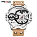 WEIDE мужские Роскошные спортивные военные ПУ Коричневый Кожаный ремешок браслет кварцевые аналоговые часы наручные часы Relogio Masculino