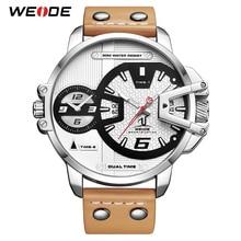 WEIDE Man Luxury Sport Military PU brown leather Strap bracelet Band Quartz Movement Analog Clock Wristwatches Relogio Masculino